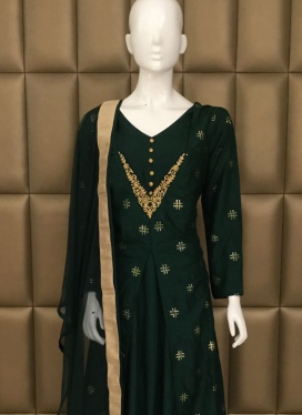 Faux Chiffon Badla Work Churidar Suit