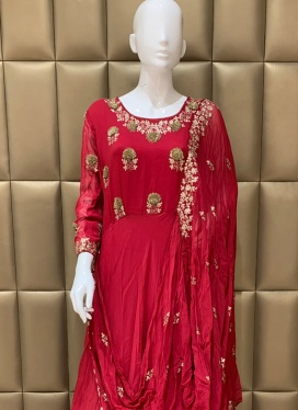 Faux Chiffon Churidar Suit For Ceremonial