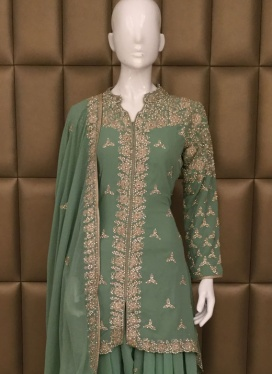 Faux Georgette Diamond Work Patiala Suit