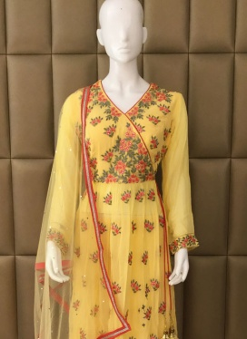 Faux Georgette Stone Work Palazzo Suit