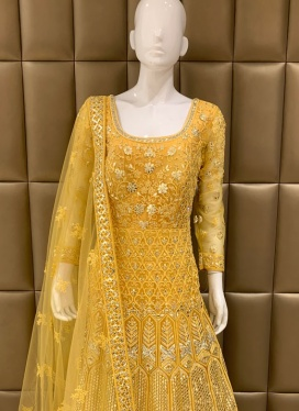 Gleaming Diamond Work Churidar Suit For Ceremonial