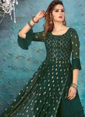 Gleaming Faux Georgette Palazzo Suit