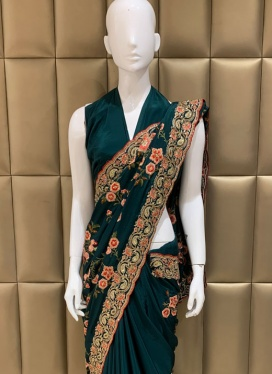 Impeccable Faux Crepe Ceremonial Diamond Work Designer Saree