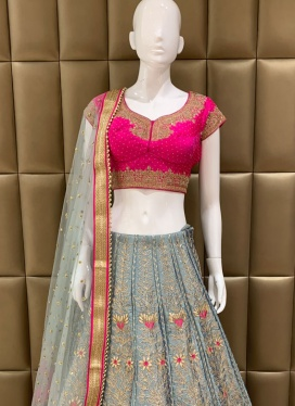 Majestic Art Dupion Silk Cut Dana Lehenga Choli