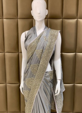 Sensational Faux Crepe Ceremonial Designer Saree