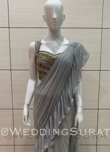 Shimmering Applique  Different Style Saree