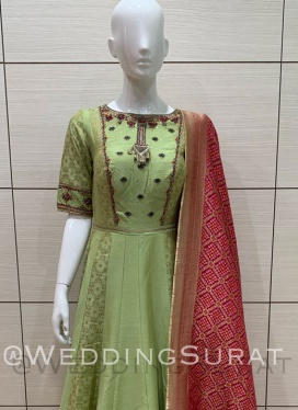 Shiny Bandhej Print Anarkali Suit