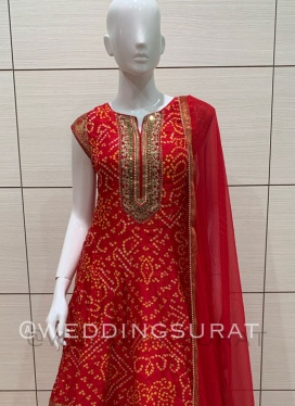 Traditional Chiffon Bandhej Print Ankle Lenght Suit