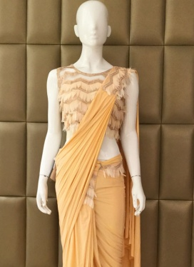 Traditional Lycra Ceremonial Ready Pleated Saree