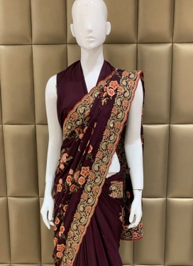 Trendy Faux Crepe Ceremonial Designer Saree
